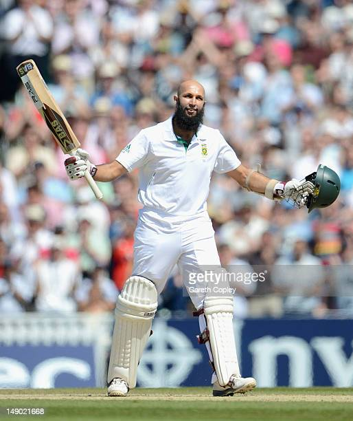 Hashim Amla of South Africa celebrates reaching his double century during day four of the 1st Investec Test match between England and South Africa at...