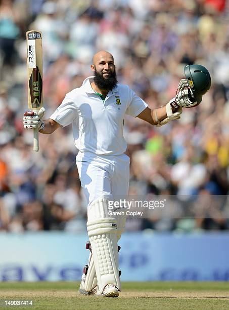 Hashim Amla of South Africa celebrates reaching his triple century during day four of the 1st Investec Test match between England and South Africa at...