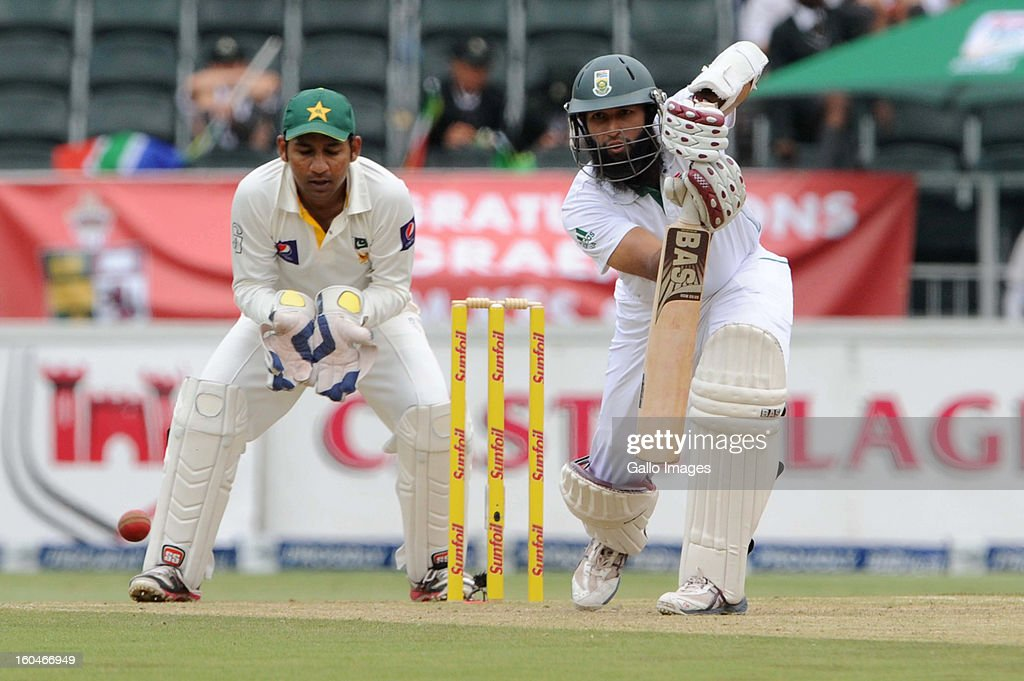 <a gi-track='captionPersonalityLinkClicked' href=/galleries/search?phrase=Hashim+Amla&family=editorial&specificpeople=647392 ng-click='$event.stopPropagation()'>Hashim Amla</a> of South Africa during day 1 of the first Test match between South Africa and Pakistan at Bidvest Wanderers Stadium on February 01, 2013 in Johannesburg, South Africa.
