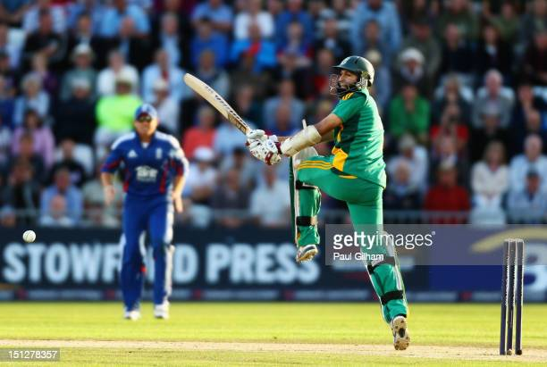 Hashim Amla of South Africa hits out during the Fifth NatWest Series One Day International match between England and South Africa at Trent Bridge on...