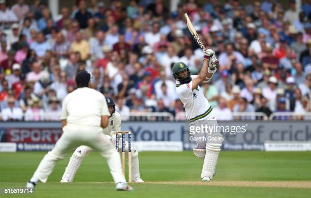 Hashim Amla of South Africa hits out for six runs during day three of the 2nd Investec Test match between England and South Africa at Trent Bridge on...