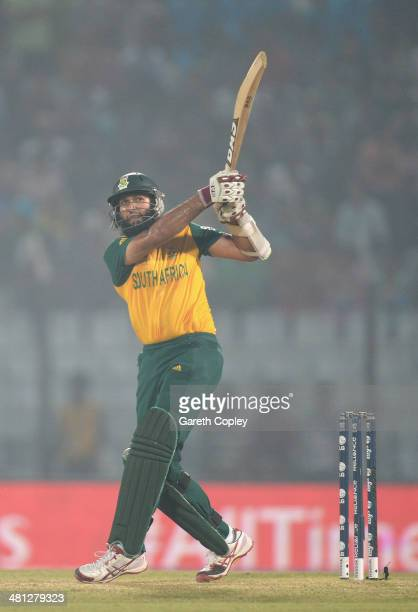 Hashim Amla of South Africa hits out for six runs during the ICC World Twenty20 Bangladesh 2014 Group 1 match between England and South Africa at...