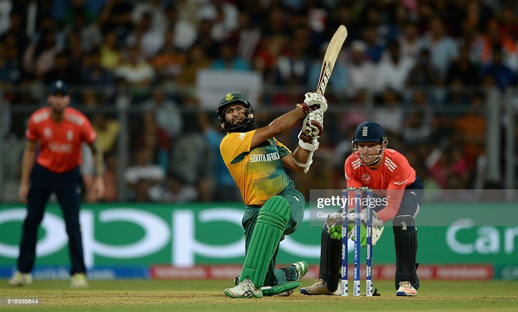 <a gi-track='captionPersonalityLinkClicked' href=/galleries/search?phrase=Hashim+Amla&family=editorial&specificpeople=647392 ng-click='$event.stopPropagation()'>Hashim Amla</a> of South Africa hits out for six runs during the ICC World Twenty20 India 2016 Super 10s Group 1 match between South Africa and England at Wankhede Stadium on March 18, 2016 in Mumbai, India.
