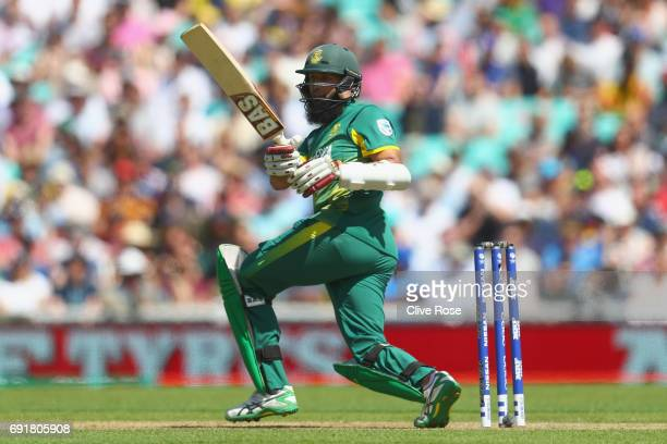 Hashim Amla of South Africa in action during the ICC Champions trophy cricket match between Sri Lanka and South Africa at The Oval in London on June...