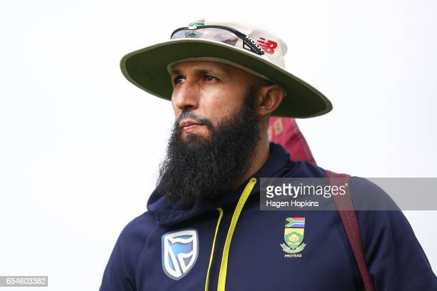 Hashim Amla of South Africa looks on during day three of the test match between New Zealand and South Africa at Basin Reserve on March 18 2017 in...