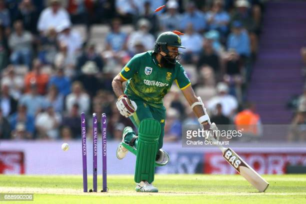 Hashim Amla of South Africa narrowly avoids being run out during the Royal London ODI match between England and South Africa at The Ageas Bowl on May...