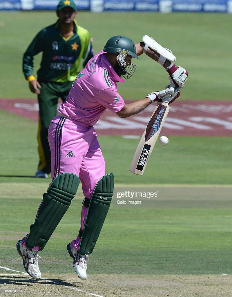 Hashim Amla of South Africa plays off his back foot during the 3rd Momentum ODI match between South Africa and Pakistan at Bidvest Wanderers Stadium on March 17, 2013 in Johannesburg, South Africa.