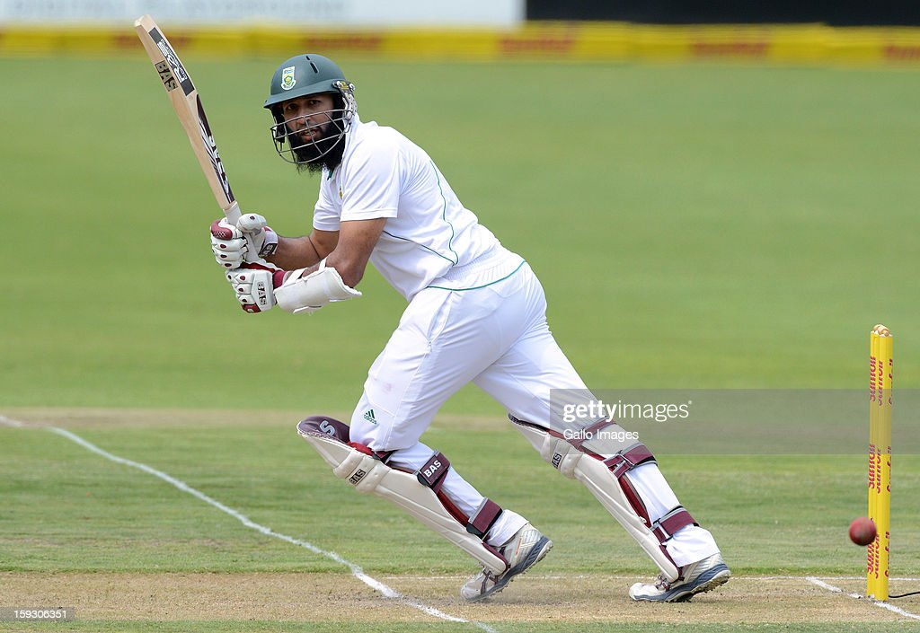 Hashim Amla of South Africa plays to fine-leg during day 1 of the 2nd Test match between South Africa and New Zealand at Axxess St Georges on January 11, 2013 in Port Elizabeth, South Africa