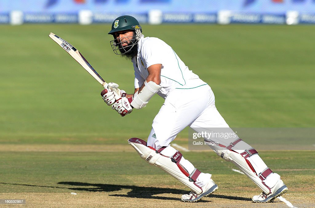 Hashim Amla of South Africa plays to the onside during day 2 of the first Test match between South Africa and Pakistan at Bidvest Wanderers Stadium on February 02, 2013 in Johannesburg, South Africa.