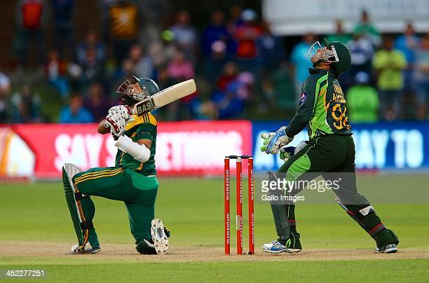 Hashim Amla of South Africa pops one up to Mohammad Hafeez of Pakistan during the 2nd One Day International match between South Africa and Pakistan...