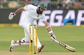 Hashim Amla of South Africa runs a single during day 1 of the 2nd Test match between South Africa and West Indies at St Georges Park on December 26...