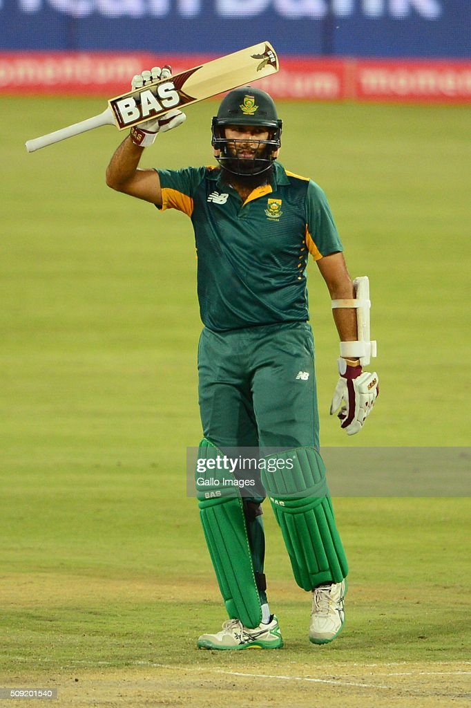 Hashim Amla of the Proteas celebrates his 50 runs during the 3rd Momentum ODI Series match between South Africa and England at SuperSport Park on February 09, 2016 in Pretoria, South Africa.