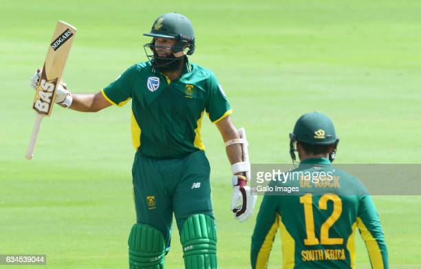 Hashim Amla of the Proteas celebrates his 50 runs during the 5th ODI between South Africa and Sri Lanka at SuperSport Park on February 10 2017 in...