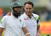 Hashim Amla on 17 not out and Faf du Plessis on 99 not out at end of play during day 1 of the 2nd Test match between South Africa and West Indies at...