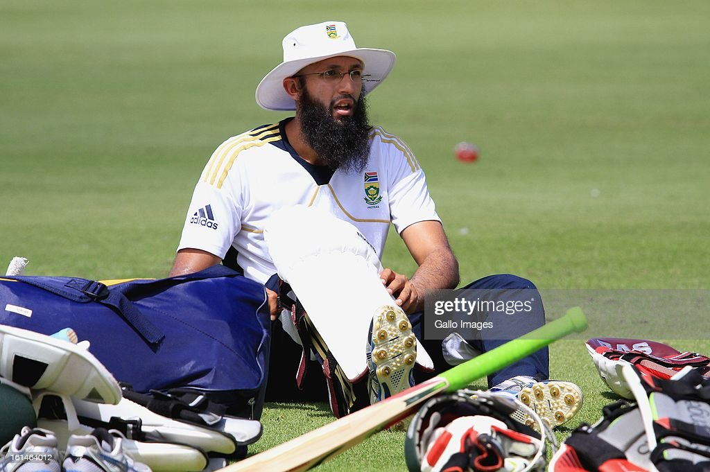 Hashim Amla prepares to bat during the South African National cricket team nets session at Sahara Park Newlands on February 11, 2013 in Cape Town, South Africa.