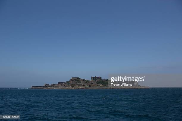 Hashima as viewed from the approach on July 16 2015 in Nagasaki Japan Hashima aka Battleship Island Japan's 'Sites of the Meiji Industrial...