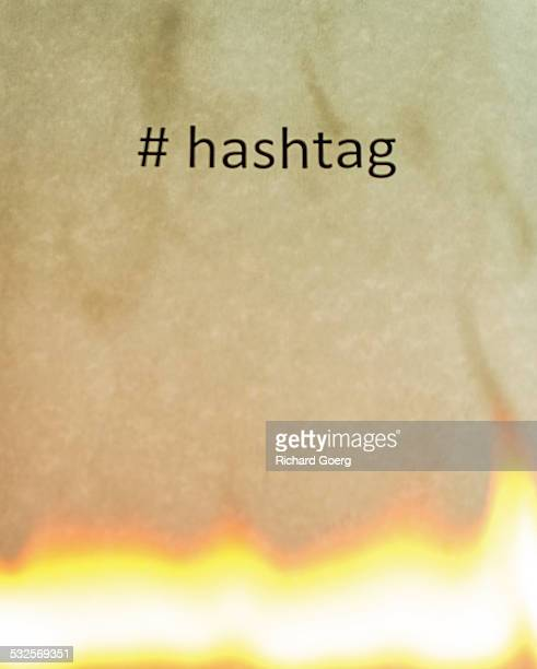 Hashtag in flames