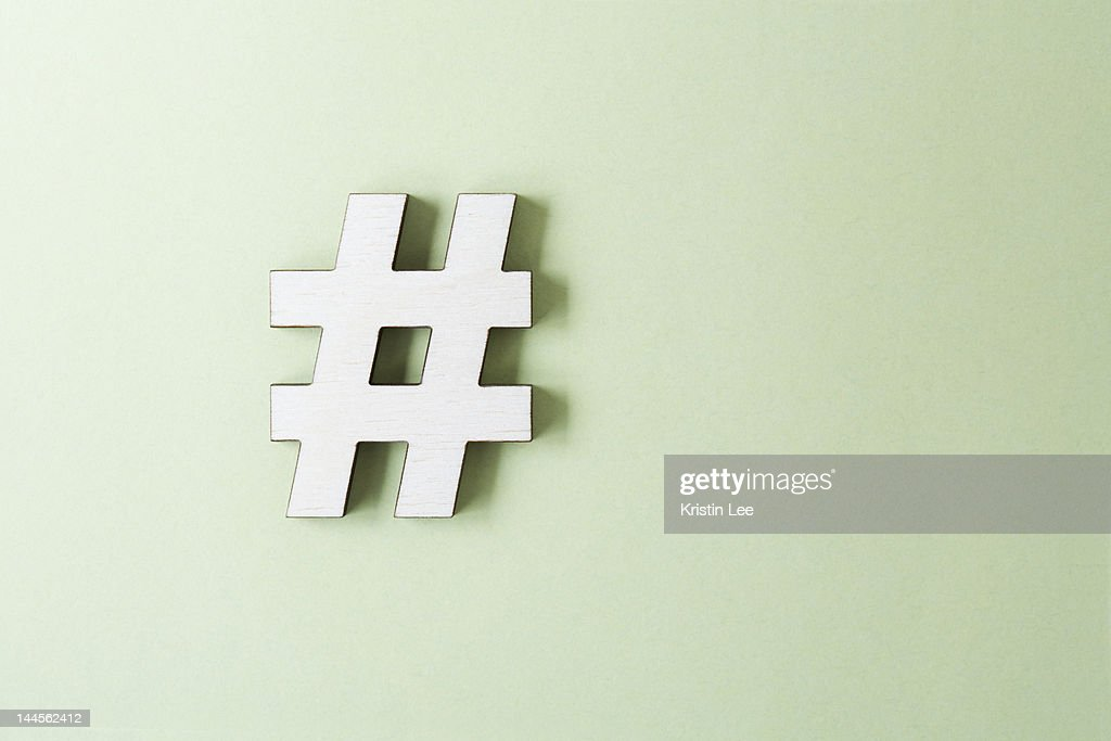 Hashtag on white background, studio shot