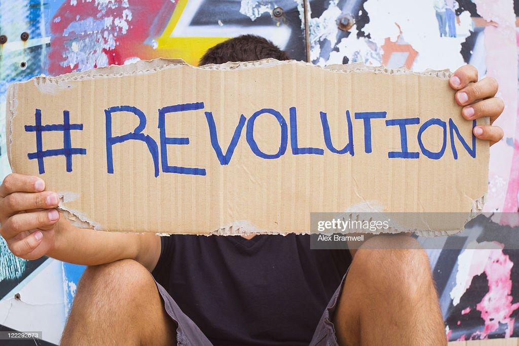 Hashtag Revolution sign : Stock Photo