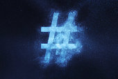Hashtag sign, Hashtag symbol. Abstract night sky background