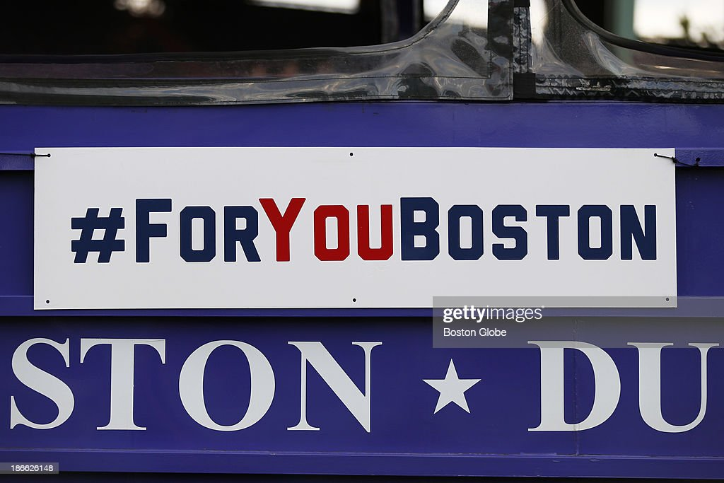 A '#FORYOUBOSTON' hashtag was affixed to the sides of the duck boats. The Red Sox Rolling Rally started at Fenway Park and paraded around Boston after the Boston Red Sox won the 2013 World Series, on Saturday, Nov. 2, 2013.