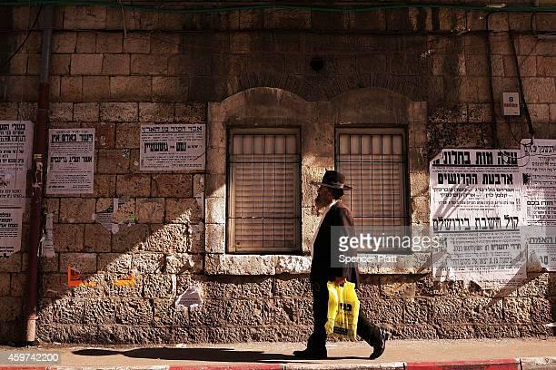Hasidic man is seen in an Orthodox neighborhood on November 30 2014 in Jerusalem Israel Nine Israelis have been killed in a series of stabbings...