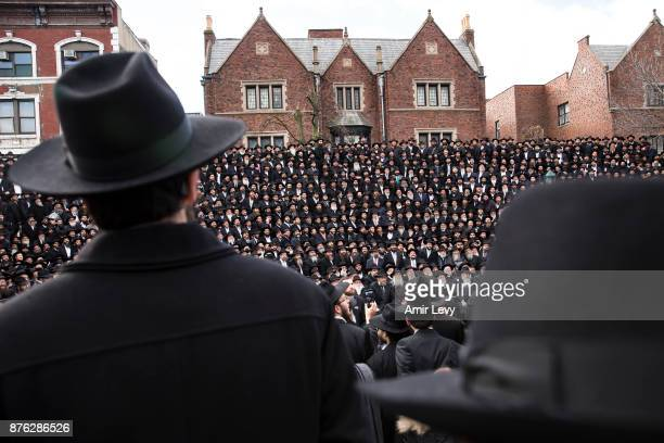 Hasidic Rabbis prepare to pose a group photo part of the annual International Conference of ChabadLubavitch Emissaries in front of Chabad Lubavitch...