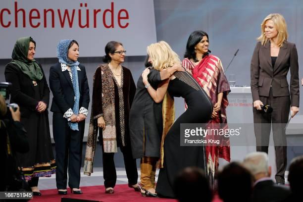 Hasina Safi Leeda Yacoobi Asma Jahangir Suneeta Dhar Maria Furtwaengler Kalpana Viswanath and Nina Ruge attend the 'Roland Berger Human Dignity...