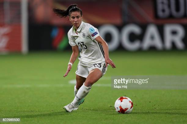 Hasret Kayikci controls the ball during the Group B match between Russia and Germany during the UEFA Women's Euro 2017 at Stadion Galgenwaard on July...