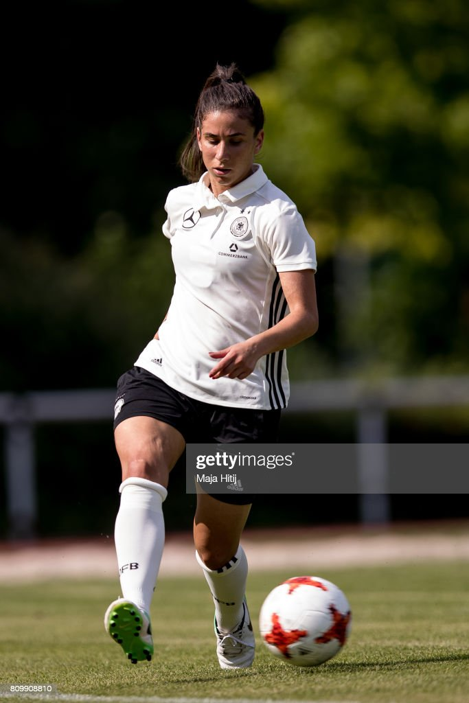 Hasret Kayikci controls the ball during the training session on July 6, 2017 in Heidelberg, Germany.