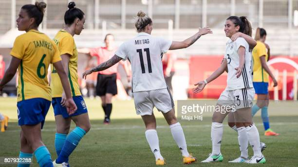 Hasret Kayikci of Germany celebrates after scoring a goal to make it 21 during the Women's International Friendly match between Germany and Brazil at...