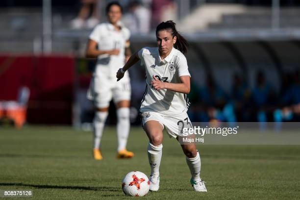Hasret Kayikci of Germany controls the ball during the Women's International Friendly match between Germany and Brazil at BWTStadion am Hardtwald on...