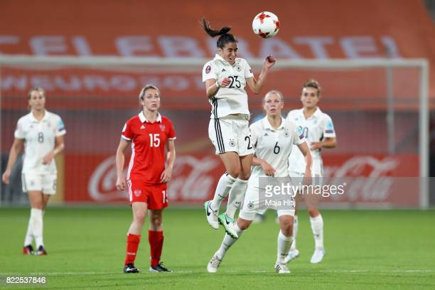 Hasret Kayikci of Germany heads the ball during the Group B match between Russia and Germany during the UEFA Women's Euro 2017 at Stadion Galgenwaard...