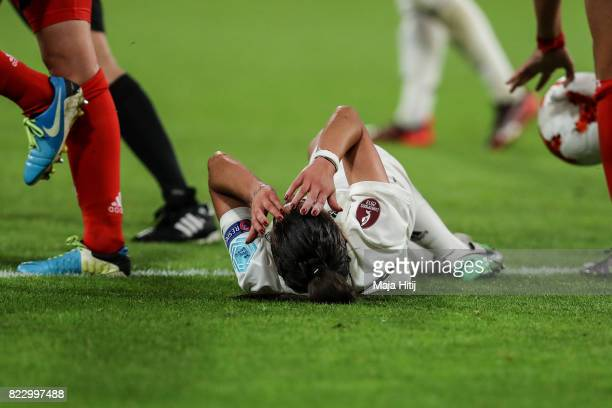 Hasret Kayikci of Germany reacts during the Group B match between Russia and Germany during the UEFA Women's Euro 2017 at Stadion Galgenwaard on July...