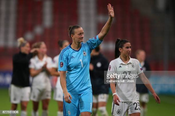 Hasret Kayikci of Germany Women and Almuth Schult of Germany Women after the UEFA Women's Euro 2017 match between Russia and Germany at Stadion...