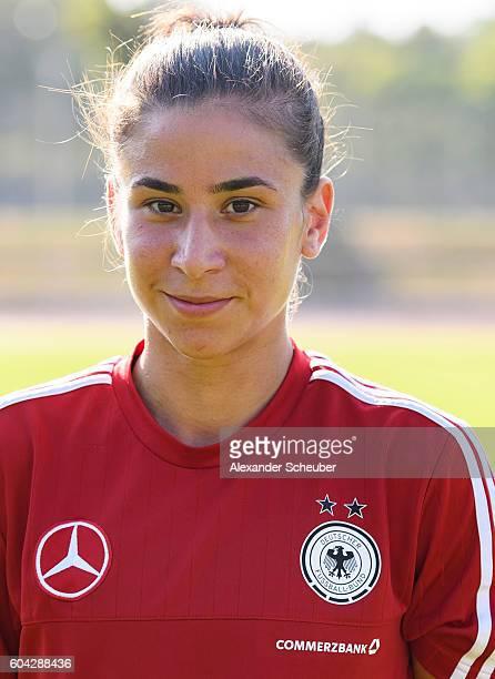 Hasret Kayikci poses during the Germany Women's team presentation on September 13 2016 in Frankfurt am Main Germany