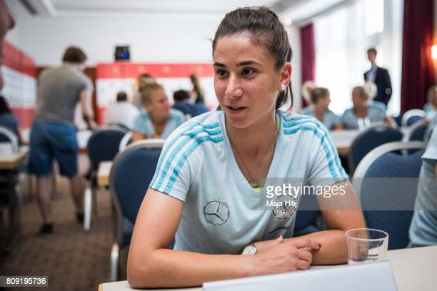 Hasret Kayikci talks to the reporter during Germany Women's National Soccer Team Media Day on July 5 2017 in Heidelberg Germany