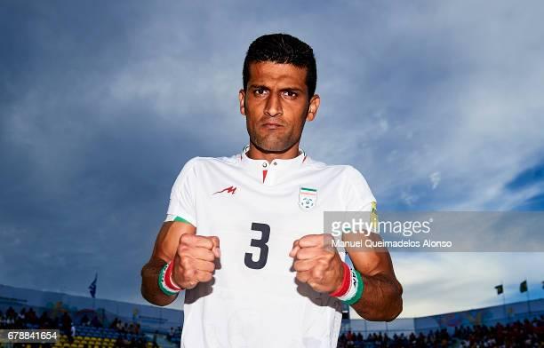 Hassan Abdollahi of Iran celebrates after winning their match during the FIFA Beach Soccer World Cup Bahamas 2017 quarter final match between...