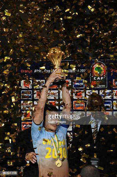 Hassan Ahmed captain of Egypt celebrates winning the Africa Cup of Nations final match between Ghana and Egypt from Universitaria Stadium on January...