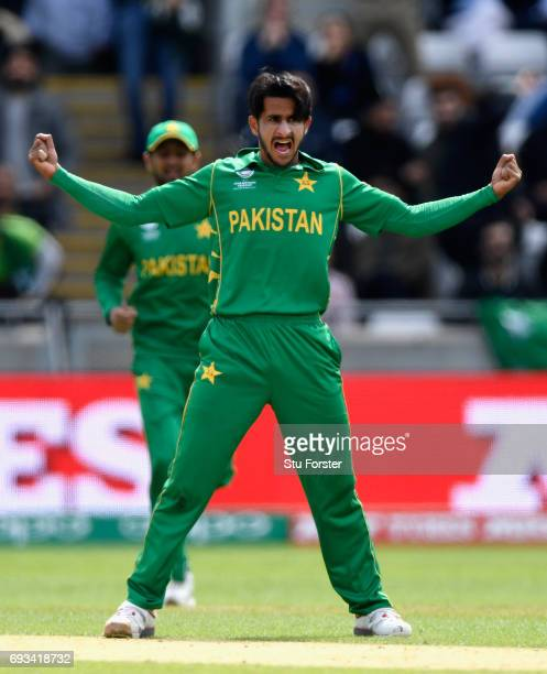 Hassan Ali of Pakistan celebrates after dismissing Faf du Plessis during the ICC Champions Trophy match between South Africa and Pakistan at...