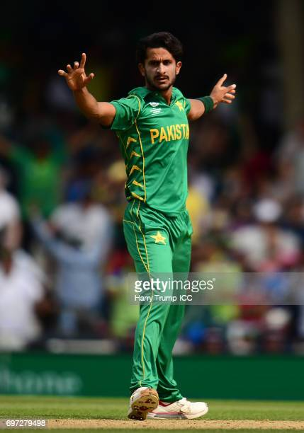 Hassan Ali of Pakistan celebrates the wicket of MS Dhoni of India with team mates during the ICC Champions Trophy Final match between India and...