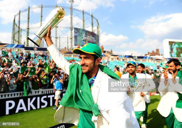Hassan Ali of Pakistan celebrates victory during the ICC Champions Trophy Final match between India and Pakistan at The Kia Oval on June 18 2017 in...