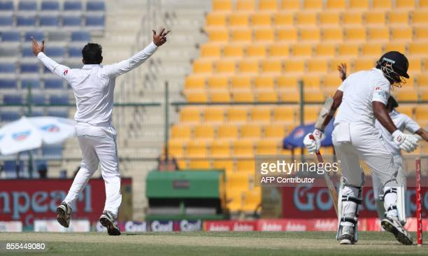 Hassan Ali of Pakistan gestures during the second day of the first Test cricket match between Pakistan and Sri Lanka at Sheikh Zayed Stadium in Abu...