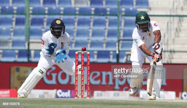 Hassan Ali of Pakistan is bowled out during the fourth day of the first Test cricket match between Sri Lanka and Pakistan at Sheikh Zayed Stadium in...