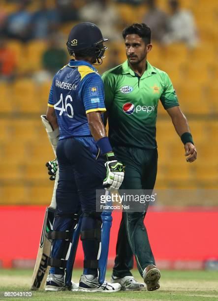 Hassan Ali of Pakistan speaks to Jeffrey Vandersay of Sri Lanka during the second One Day International match between Pakistan and Sri Lanka at Zayed...