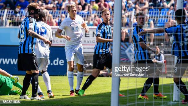 Hassan Amin of Mannheim defends the ball on the line during the Third League playoff leg one match between Waldhof Mannheim and SV Meppen on May 28...