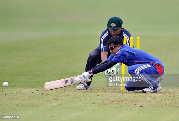 Hassan Khan of England hits out during the 3rd ODI match between England Blind Squad and Australia Blind Squad at Warwick School on June 2 2012 in...