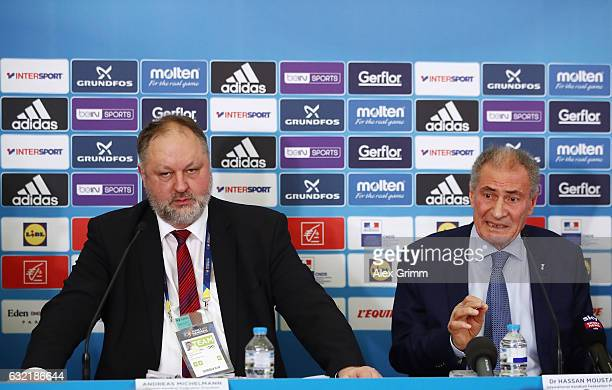 Hassan Moustafa President of the International Handball Federation IHF and Andreas Michelmann President of the German Handball Federation DHB attend...