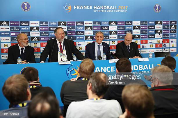 Hassan Moustafa President of the International Handball Federation IHF Andreas Michelmann President of the German Handball Federation DHB IHF Vice...