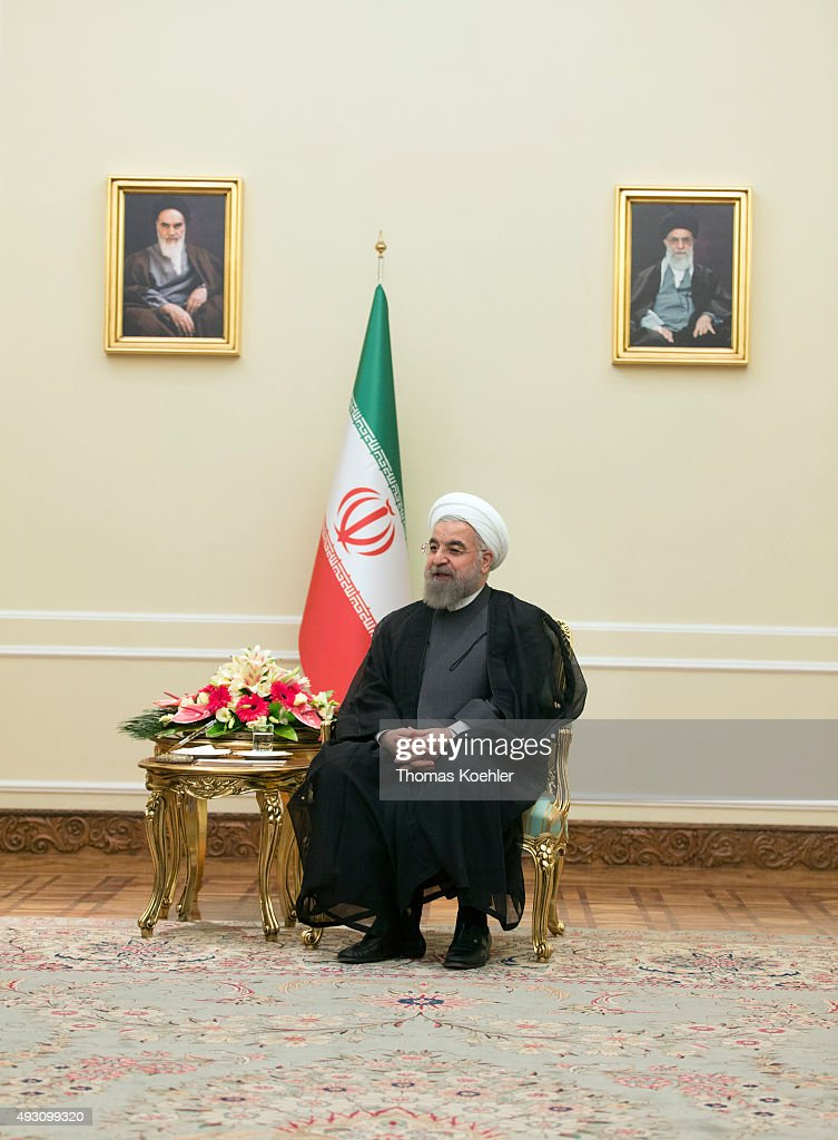 Hassan Rohani President of Iran during a meeting with german foreign minister Steinmeier on October 17 2015 in Tehran Iran